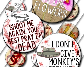 Zombie Theme Bottle Cap Images 1 inch circle image sheet Digital Collage Sheet INSTANT DOWNLOAD Printable Cupcake Top