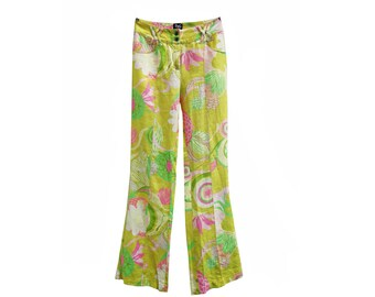 DOLCE & GABBANA  linen floral print trousers flare