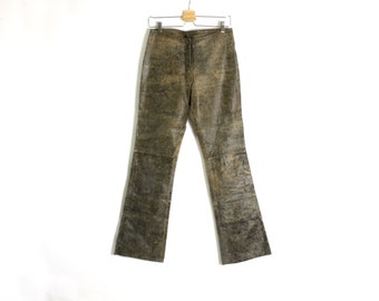 Vintage 80's 90's Brown Real Leather Bootcut Pants Trousers