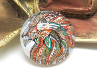 2 cabochons 14 mm glass Lion Tribal 1-14 mm