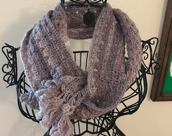 Crocheted Pearly Twist Scarf with Fringe