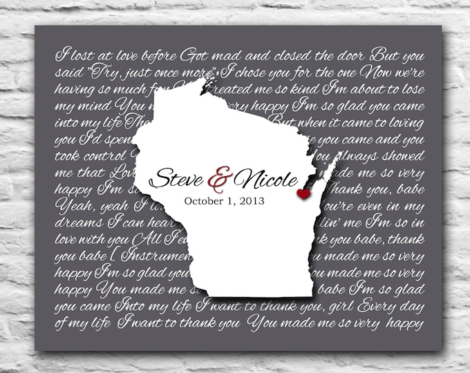 Valentines Day Gift For Her, State Map Song, Wife Gift 1st year 5 year 10 year 15 year Personalized Gift Couple, Wisconsin Madison Wedding