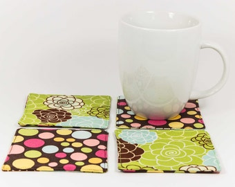 CLEARANCE SALE - Set of 4 Floral and Polkadot Fabric Coasters, coffee table décor, housewarming gift for her, ready to ship