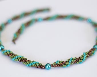 Beading tutorials and patterns, beaded spiral necklace pattern, beading pattern instruction, beaded necklace tutorial, PDF,seed bead pattern
