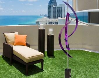 Large Purple Modern Metal Art, Contemporary Indoor Outdoor Sculpture, Abstract Garden Decor, Yard Art - Purple Centinal by Jon Allen