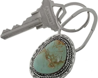 Turquoise Key Ring Sterling Navajo Made Accessory // Keychain