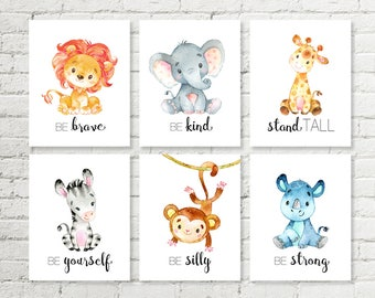 Safari Nursery Decor Prints Giraffe Elephant Lion Rhino Monkey Zebra Jungle Animals Printable Wall Art 8x10 and A3 Baby Shower Gift Set of 6