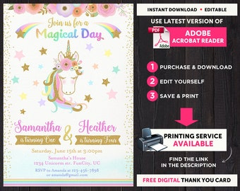 Unicorn Invitation for Sisters, Combined Birthday Invitation, Combined Invitation, Birthday Invitation For Two Kids, Siblings Birthday