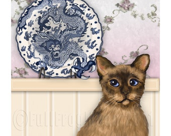 The Chinese Plate and Tibetan Cat Print
