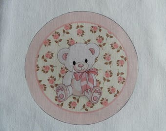 Adorable transfer pink Teddy bear white bow