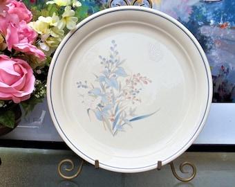 Vintage Noritake Keltcraft Serving Platter, Large Round Stoneware Platter/Chop Plate in Blue & Pink Floral Kilkee Discontinued Pattern,1980s
