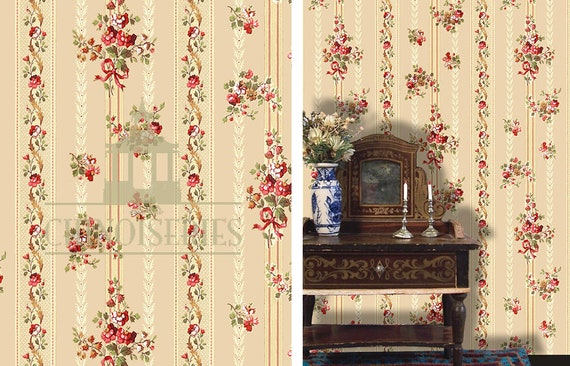 Dollhouse Miniature Wallpaper, Poco Rojo, Scale One Inch