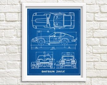 Blueprints etsy datsun 280z blueprint decor 280z blueprint art datsun 280z instant download datsun blueprints datsun wall art 8x10 11x14 malvernweather Gallery