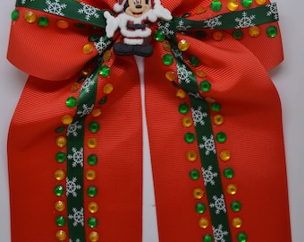 Mickey Mouse Christmas - Large Hair Bow Clip