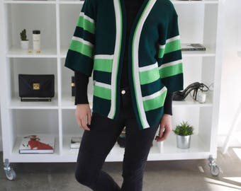 Vintage 1970's green and white cardigan, size UK 8/S