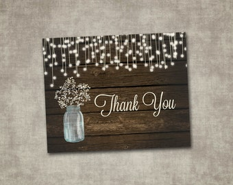 Thank You Card Wedding Baby's Breath Mason Jar Rustic Wood Country Barn String Fairy Lights Cream Printable Digital File Instant Download