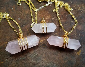 Love // Natural Rose Quartz Double Terminated Points // 24 Karat Gold Plated Wire Wrapped Pendants // Metaphysical Healing Goddess Jewelry