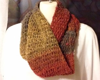 Crochet Infinity Scarf - Rust, Gold and Gray
