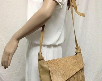 Tan Leather Purse,tooled leather,purse,bag, Shoulder Bag ,Soft leather