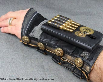 Steampunk PHONE BRACER Industrial Wrist Cuff MILITARY DieselPunk Cuff Black Leather Cuff Arm Bracer Mad Max Bracer