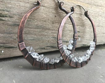 Copper Hoop Earrings / Herkimer diamond  / Hoop Earrings / Crystal Earrings / Large Hoop Earrings / Rustic Jewelry Daniellerosebean
