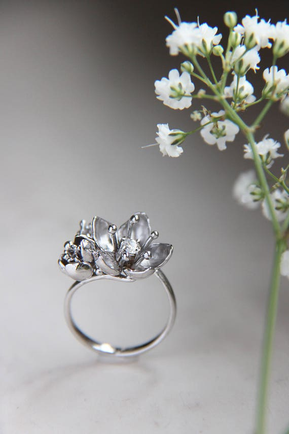 Cherry blossom white gold ring for engagement, Unique diamond ring, Flower women ring, Proposal delicate ring, Romantic love ring gift