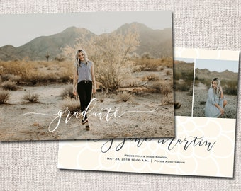 Graduation Announcement, Graduation Invitation, Photo Graduation Announcement, Printable Graduation Announcement (Floral 2 sided)