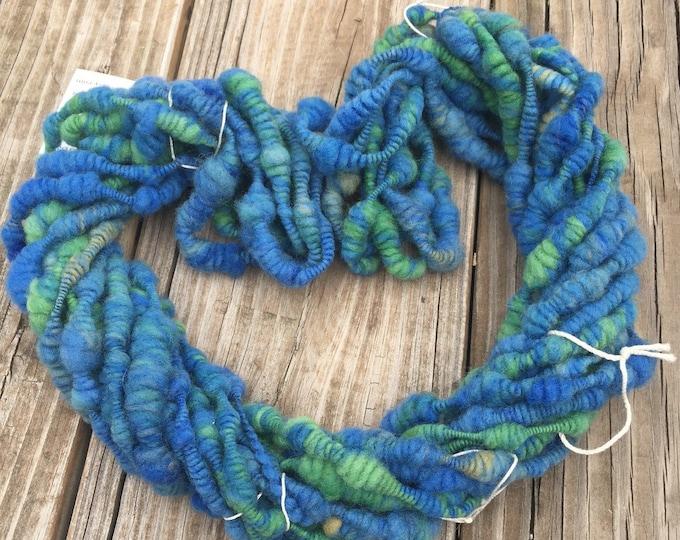 handspun yarn Blue n Green Supercoils Art Yarn coils of wool blends fibre Coiled artyarn with Free Tutorial