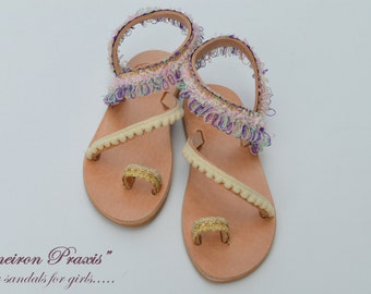 "Girls Leather Sandals""baby Erato""-Boho Baby Sandals -Bby Sandals-Baptism Shoes"