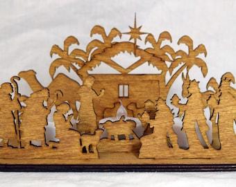 Christmas Nativity laser cut wooden tealight holder display