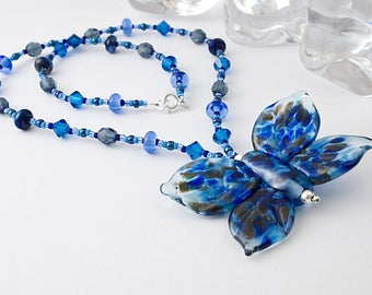 Blue Butterfly Lampwork Necklace