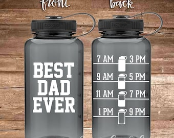 Best DAD EVER - water bottle with water tracker - motivational time tracker - 34 oz water bottle - BPA Free - Father's Day - Gift for Dad