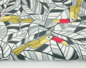 Fabric 100% cotton tropical toucans printed 50 x 160 cm, toucans on turquoise leaves