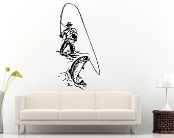 Fishing Fisherman Pike Catching A Fish With A Fishing Poll Wall Decal Vinyl Sticker Mural Room Decor L845