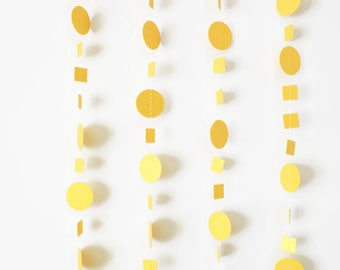 Metallic Gold Garland-Set of 5-Gold Paper Garland, Gold Wedding Garland, Gold Wedding Decorations