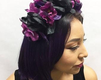 Black Deep Purple Flower Crown Headband