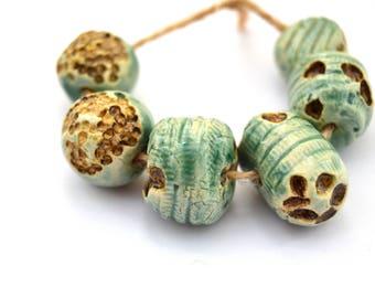 6 Nautical Beads, Blue / Brown Beads, Rustic Beads, Handmade Ceramic Beads, White Clay Beads, Jewelry Supplies