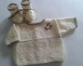 Jacket and booties - baby set - newborn - 01 months
