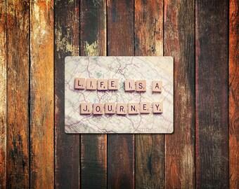 travel photograpy magnet / life is a journey, inspirational, kitchen decor, fine art photography, scrabble tiles, photo magnet