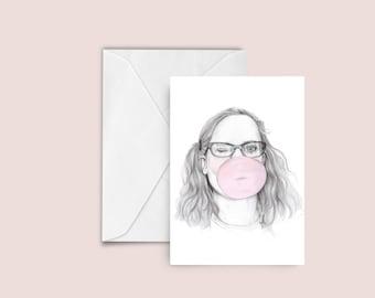 Bubblegum fashion illustration Greeting card , blank card