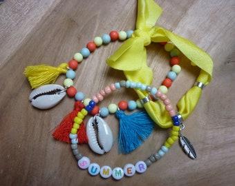 Ibiza summer beaded bracelets set with shells and tassels ibiza elastic yellow