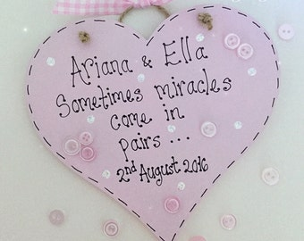 Personalised sometimes miracles come in pairs twins heart keepsake gift plaque