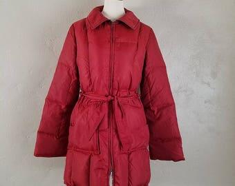 Vintage 1960s/70s SHARPEE Red-Orange Puffer Coat ~ Zip & Tie ~ MOD/Indie ~ Women's Medium/Large