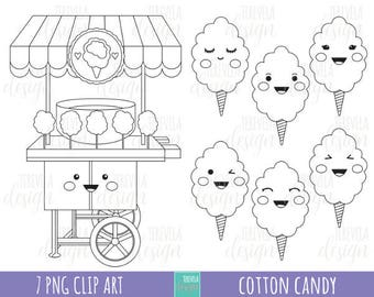 50% SALE cotton candy digital stamps, cotton candy digi stamps, commercial use, coloring page, candy clipart, cute graphics