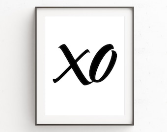 XO Print, Newly Engaged Gifts, Newlywed Gift Ideas, Fashion Wall Print, Kiss Print Art, Fashion Wall Poster, Bedroom Wall Poster, Typography