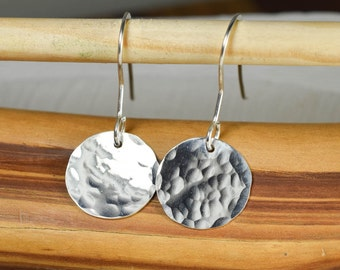 Hammered Disc Sterling Silver  Earrings,  Sterling Silver  Hammered Earrings, High Polish, Disc Earrings, Ready to Ship