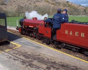 Photograph: River Mite locomotive Ravensglass & Eskdale Railway English Lake District; greetings card POD white C5