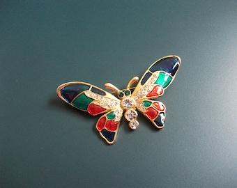 Vintage Clear Glass Rhinestone Cloisonne Enamel Butterfly Brooch Pin