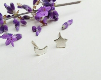 MOON & STAR Tiny Studs by MOONDROPS /// Sterling Silver Stud Earrings /// Gift Under Twenty Dollars Gift Wrapped /// Mix and Match Studs