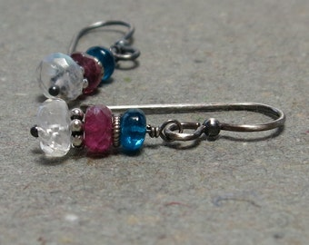 White Moonstone Earrings Pink Tourmaline Apatite Petite Gemstone Stack Oxidized Sterling Silver Earrings Gift for Her